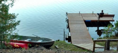 Pier , lake , boats
